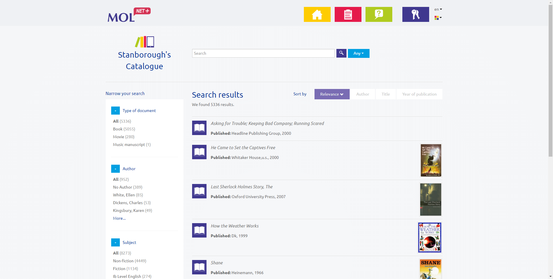 OPAC search results