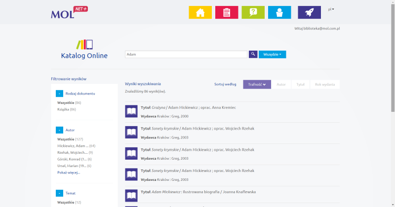 Katalog on-line MOL NET+ filtrowanie